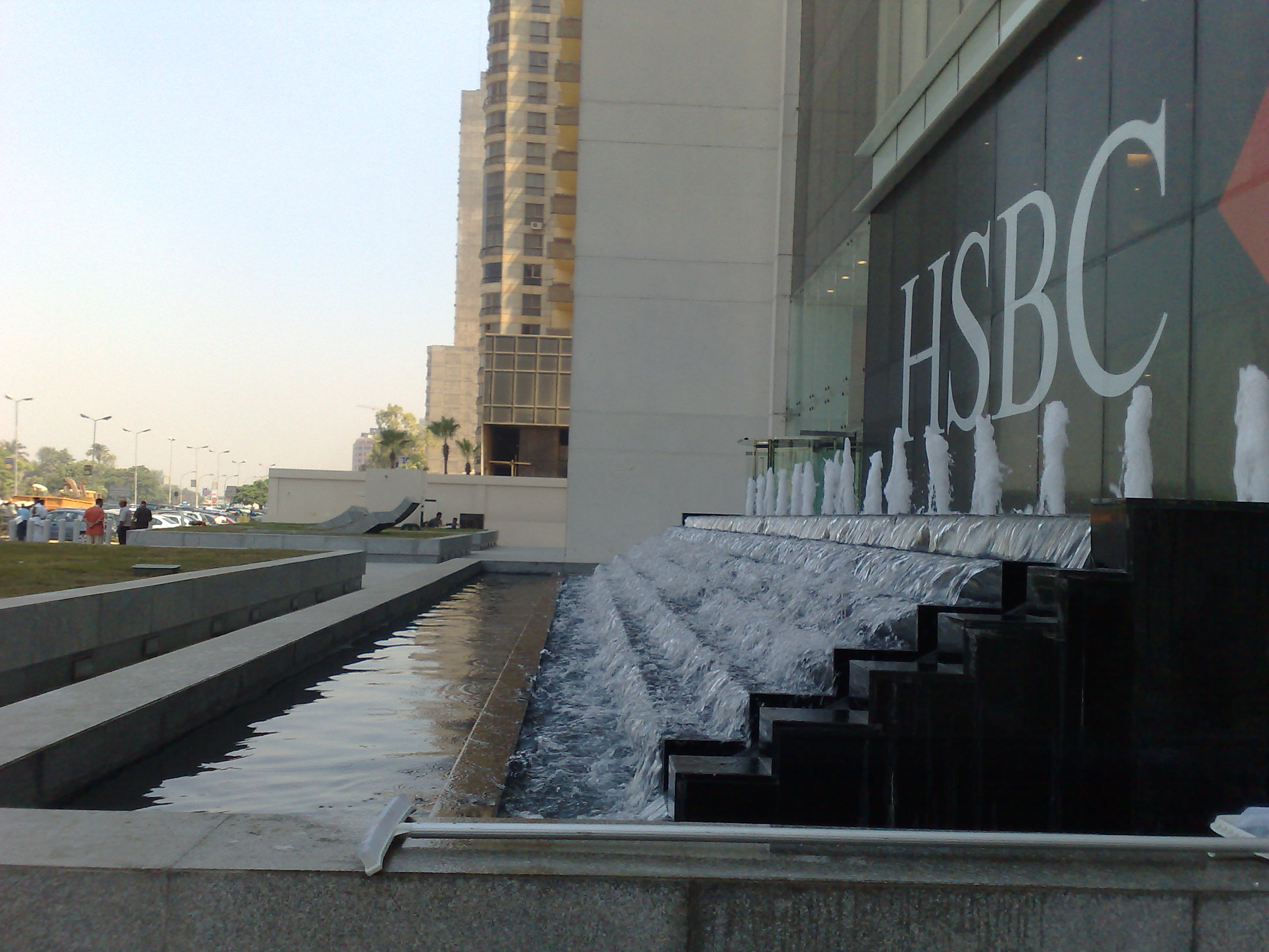 hsbc maadi office entrance water feature cairo egypt